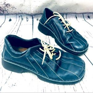 Naot Blue Leather Lace Up Square Toe Shoes 6/6.5